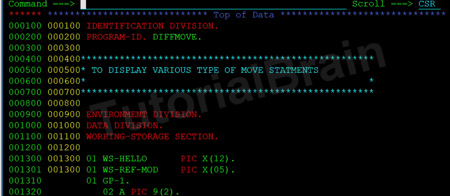 cobol move different types of move statement  u2014 tutorialbrain